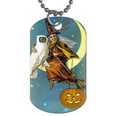 Vintage Halloween Witch Dog Tag (Two-sided)