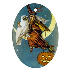 Vintage Halloween Witch Oval Ornament (Two Sides)