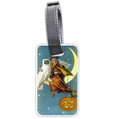 Vintage Halloween Witch Luggage Tag (Two Sides)