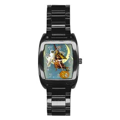 Vintage Halloween Witch Stainless Steel Barrel Watch