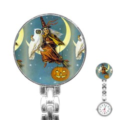 Vintage Halloween Witch Stainless Steel Nurses Watch