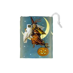 Vintage Halloween Witch Drawstring Pouch (Small)