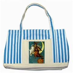 Vintage Halloween Witch Blue Striped Tote Bag