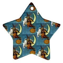 Vintage Halloween Witch Star Ornament (Two Sides)