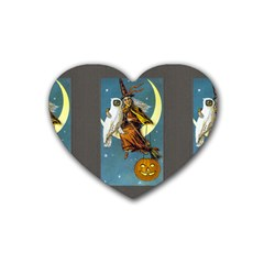 Vintage Halloween Witch Drink Coasters (Heart)
