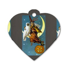 Vintage Halloween Witch Dog Tag Heart (One Sided)