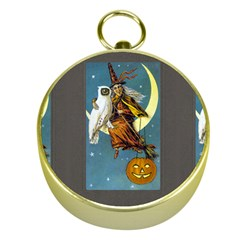 Vintage Halloween Witch Gold Compass