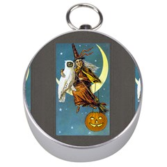 Vintage Halloween Witch Silver Compass