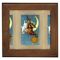 Vintage Halloween Witch Framed Ceramic Tile