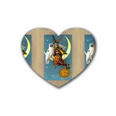 Vintage Halloween Witch Drink Coasters 4 Pack (Heart)