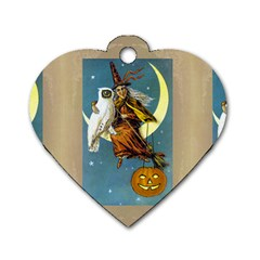 Vintage Halloween Witch Dog Tag Heart (Two Sided)
