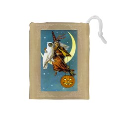 Vintage Halloween Witch Drawstring Pouch (Medium)