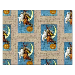 Vintage Halloween Witch Jigsaw Puzzle (Rectangle)