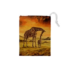 Giraffe Mother & Baby Drawstring Pouch (Small)