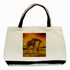 Giraffe Mother & Baby Twin-sided Black Tote Bag