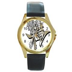 The Flying Dragon Round Leather Watch (gold Rim)