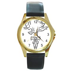 Maybe I m A Lion Round Leather Watch (gold Rim)