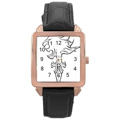 Maybe I m a lion Rose Gold Leather Watch