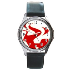 Fever Time Round Leather Watch (silver Rim)