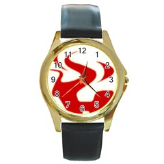 Fever Time Round Leather Watch (gold Rim)