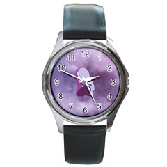 Profile Of Pain Round Leather Watch (silver Rim)