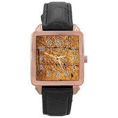 Ancient Egypt Mural 12aug 2014 Rose Gold Leather Watch