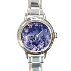 Pink And Blue Morning Frost Fractal Round Italian Charm Watch