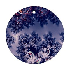 Pink And Blue Morning Frost Fractal Round Ornament