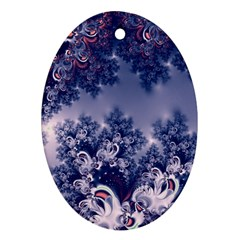Pink and Blue Morning Frost Fractal Oval Ornament