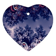 Pink and Blue Morning Frost Fractal Heart Ornament