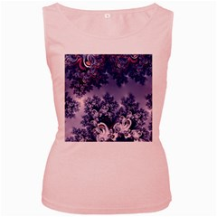Pink and Blue Morning Frost Fractal Women s Tank Top (Pink)