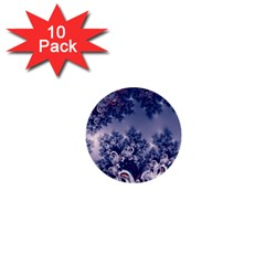 Pink And Blue Morning Frost Fractal 1  Mini Button (10 Pack)