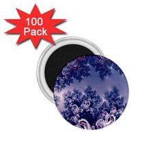 Pink And Blue Morning Frost Fractal 1 75  Button Magnet (100 Pack)