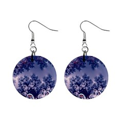 Pink And Blue Morning Frost Fractal Mini Button Earrings