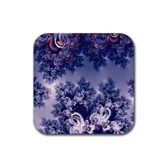 Pink and Blue Morning Frost Fractal Drink Coaster (Square)