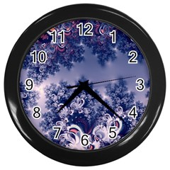 Pink And Blue Morning Frost Fractal Wall Clock (black)