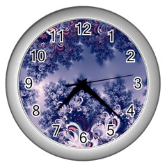 Pink and Blue Morning Frost Fractal Wall Clock (Silver)