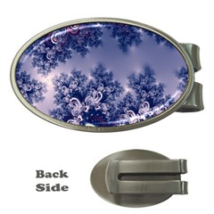 Pink and Blue Morning Frost Fractal Money Clip (Oval)