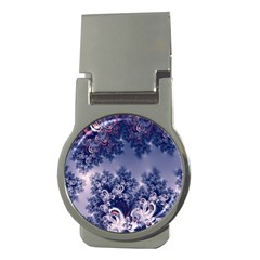 Pink And Blue Morning Frost Fractal Money Clip (round)