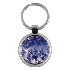 Pink and Blue Morning Frost Fractal Key Chain (Round)