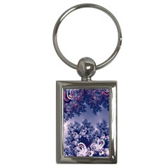 Pink And Blue Morning Frost Fractal Key Chain (rectangle)