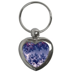 Pink and Blue Morning Frost Fractal Key Chain (Heart)