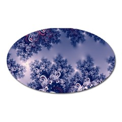 Pink and Blue Morning Frost Fractal Magnet (Oval)