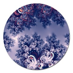Pink And Blue Morning Frost Fractal Magnet 5  (round)