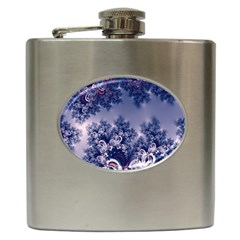 Pink And Blue Morning Frost Fractal Hip Flask