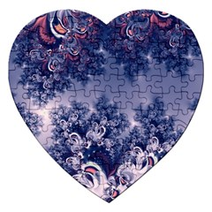 Pink and Blue Morning Frost Fractal Jigsaw Puzzle (Heart)