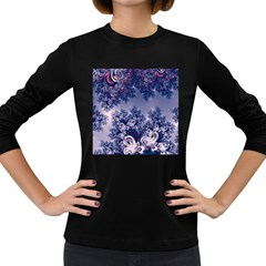 Pink and Blue Morning Frost Fractal Women s Long Sleeve T-shirt (Dark Colored)