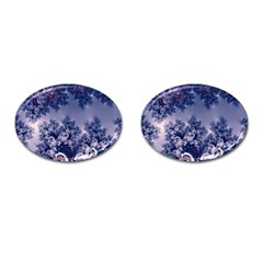 Pink and Blue Morning Frost Fractal Cufflinks (Oval)