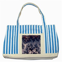 Pink and Blue Morning Frost Fractal Blue Striped Tote Bag