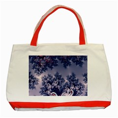 Pink and Blue Morning Frost Fractal Classic Tote Bag (Red)